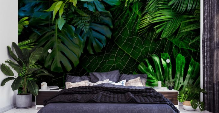 mur de papier peint jungle mode loft. Black Bedroom Furniture Sets. Home Design Ideas